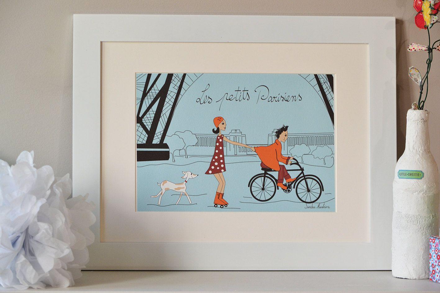 Illustration de Paris Jeux des petits parisiens, Paris art, affiche de Paris, Paris print, impression numérique de PAris by Sandra Maestrini.