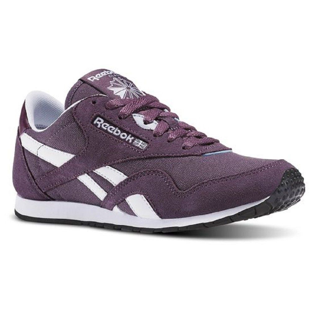 Reebok Women's Classic Nylon Slim HV Running Shoe, Meteorite/Pacific Purple/White/Gable  Grey/Black, 11 M US. Canvas upper for comfort and breathability.