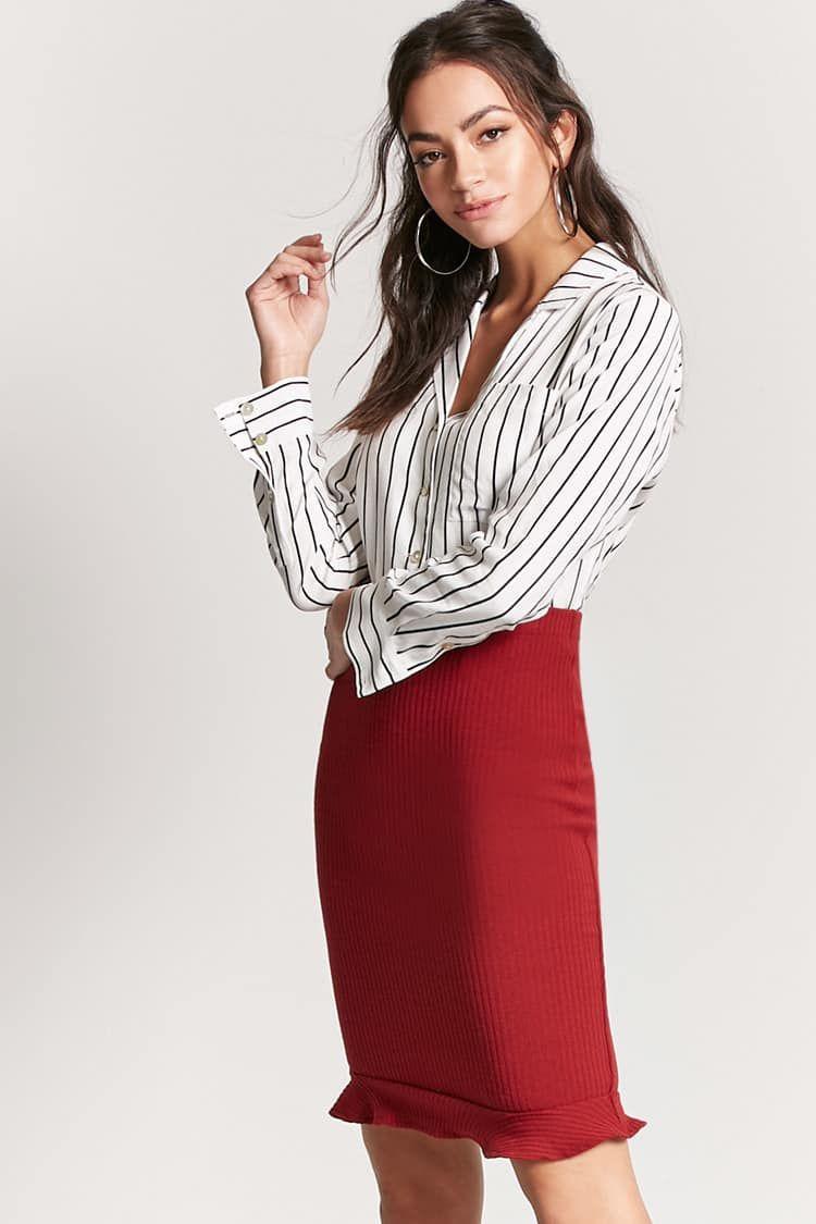 b980815cf Product Name:Ruffle-Hem Pencil Skirt, Category:bottoms, Price:12.9 ...