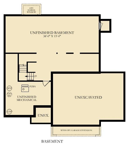 The Calloway Unfinished Lower Level Floor Plans Lennar Unfinished Basement