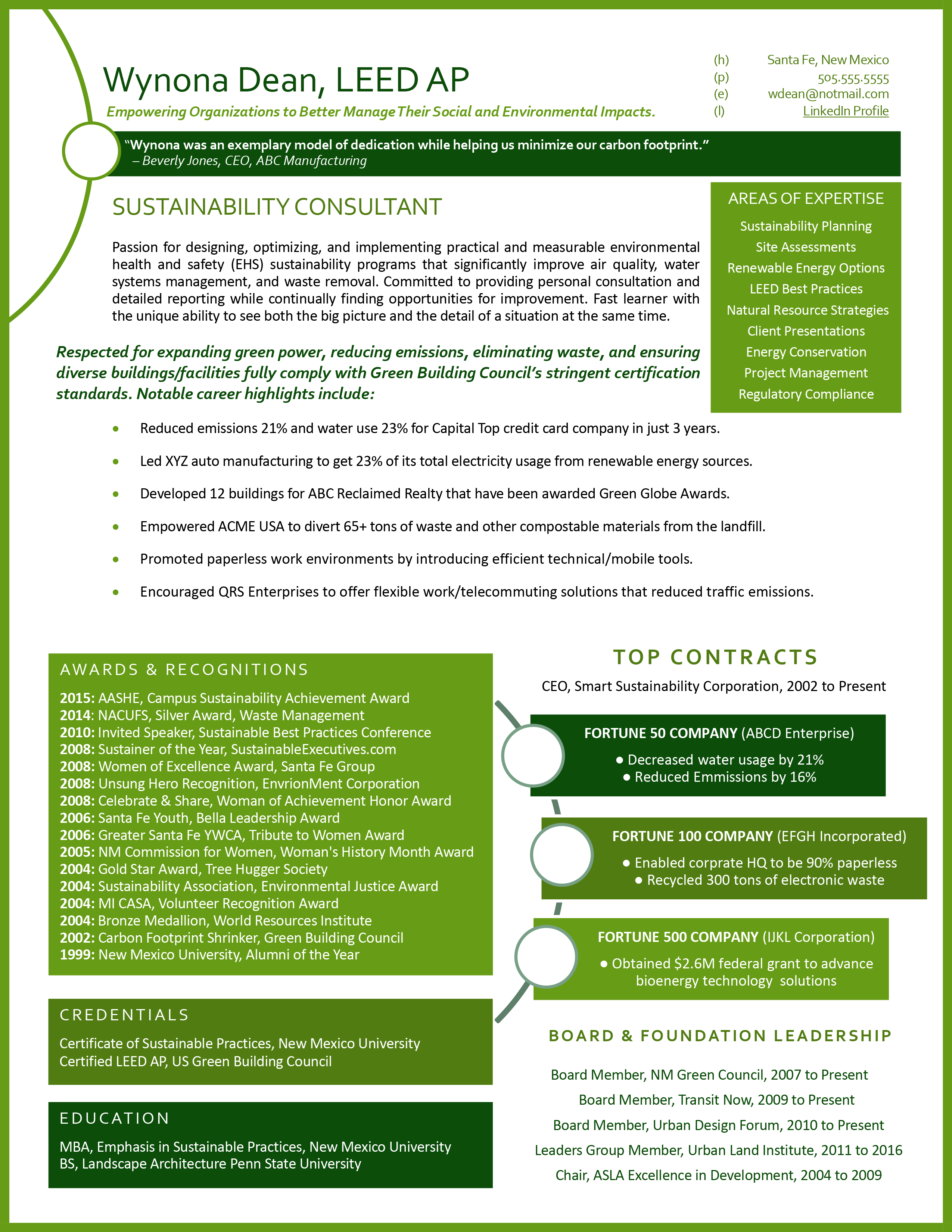 1 page networking example for a sustainability consultant