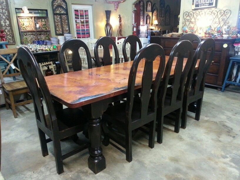 copper top luxurious dining table a master piece from barrio antiguo - Copper Kitchen Table