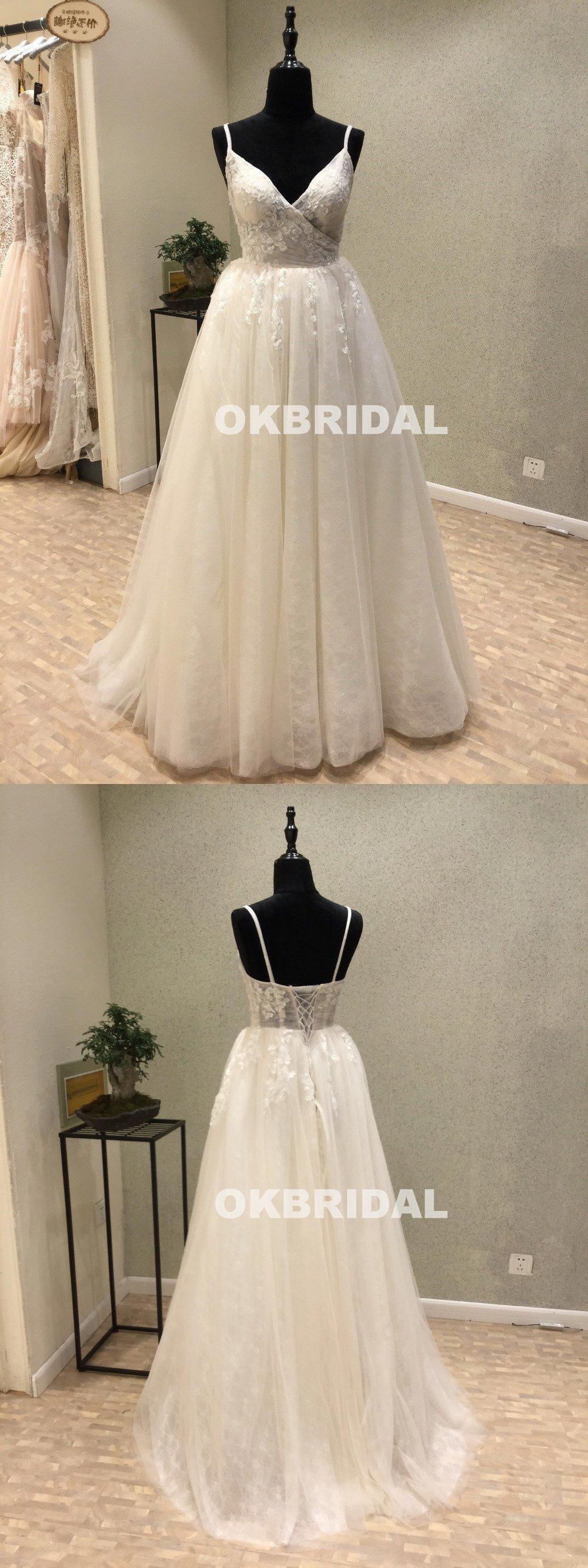 New arrival lace vneck wedding dresses aline backless applique