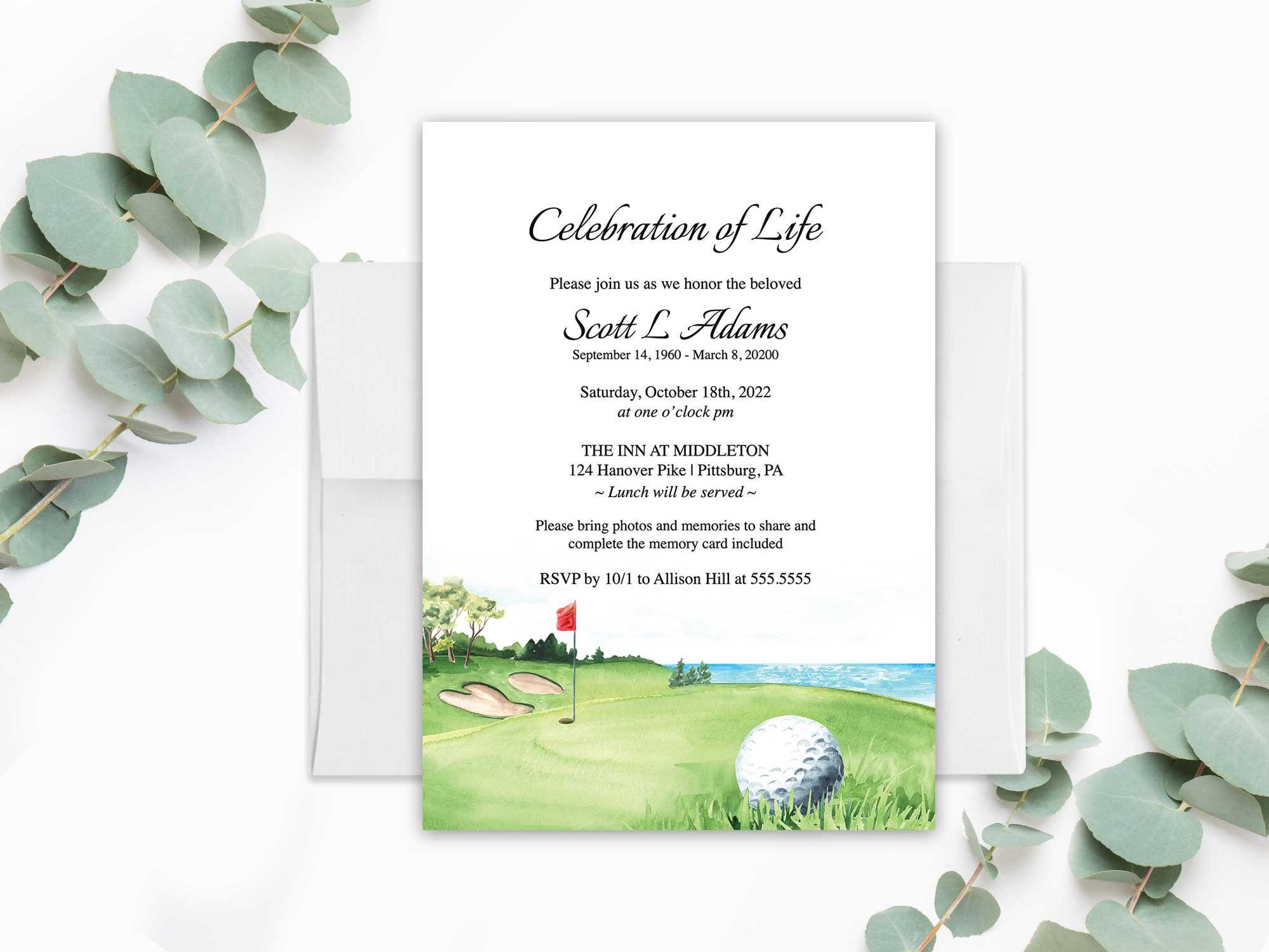 Celebration Of Life Invitation Template Golf Funeral Etsy Memorial Service Invitation Invitation Printing Funeral Invitation