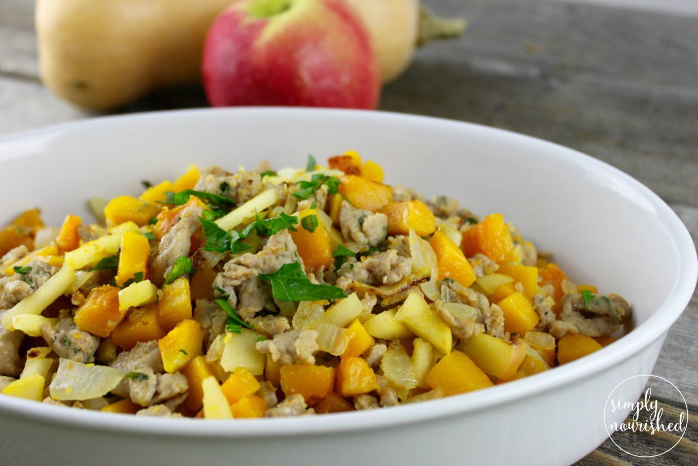 Butternut Squash and Apple Hash with Sausage - Simply Nourished