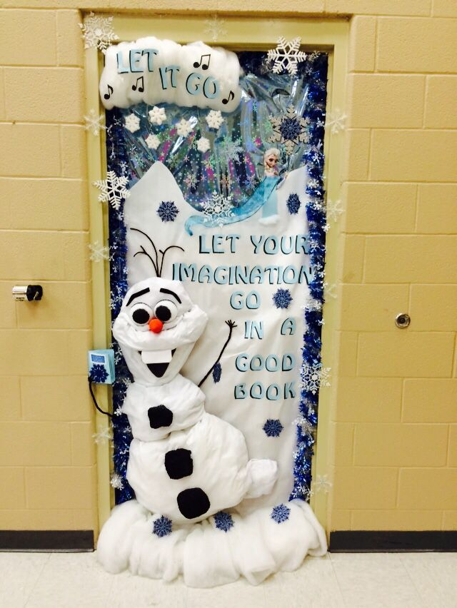 Frozen theme for classroom door decoration. Teen Read Week