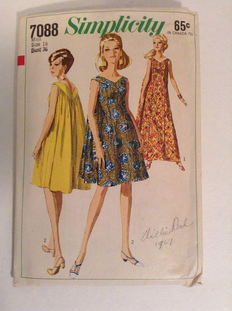 e49b705ef1006 Simplicity 7088 MuuMuu Grecian Top Shapeless Dress 60s