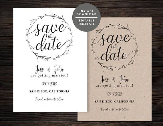 Rustic Save the Date Template Printable Save the date Kraft - save the date template