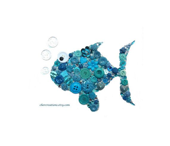 SILLY FISH turquoise 8X10 Button Art Button by CherCreations