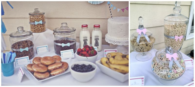 Cereal Bar & Donuts for early morning Pink & Blue Ombre Gender Reveal Party | Marigold Mom