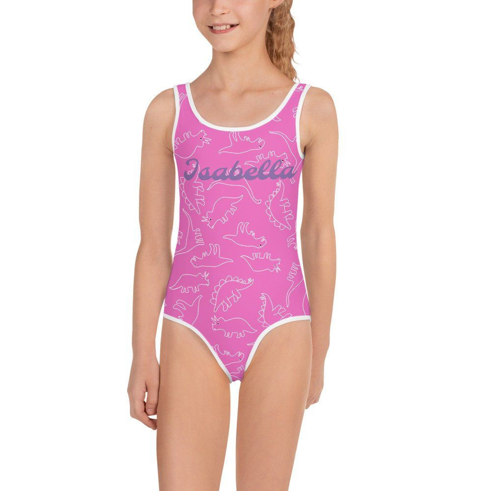hot-selling discount latest trends of 2019 fair price Pink Girls Personalised Dinosaur Outlines Swimsuit | Girls ...