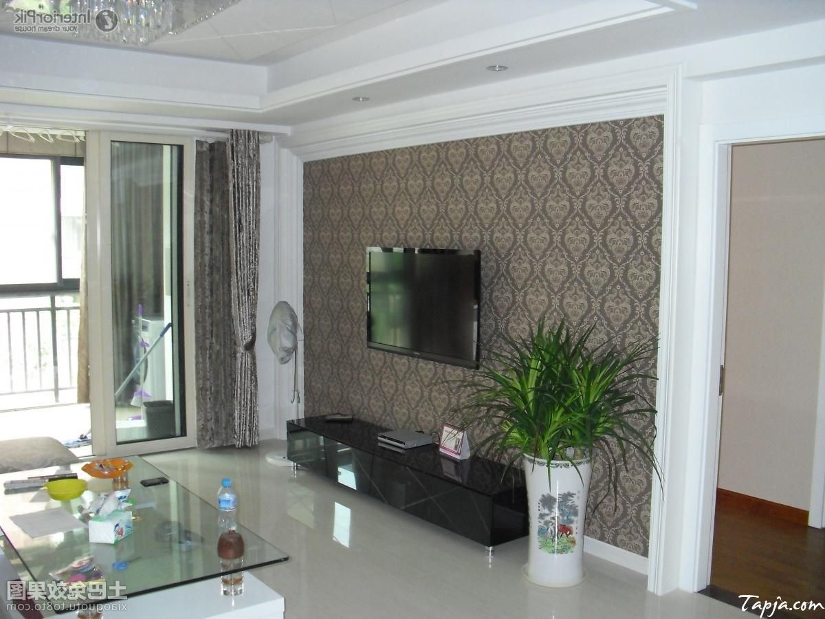 Fashionable Living Room Interior Decorating With Wallpaper Behind Tv Wall Mounted And Glass ...