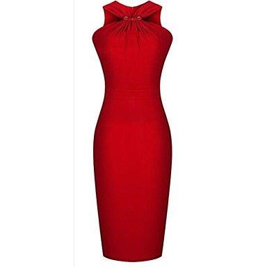 color sólido vestido midi sin mangas atractivo del bodycon lápiz encima detuvo la cadera del paquete de la mujer mingfan – USD $ 14.99