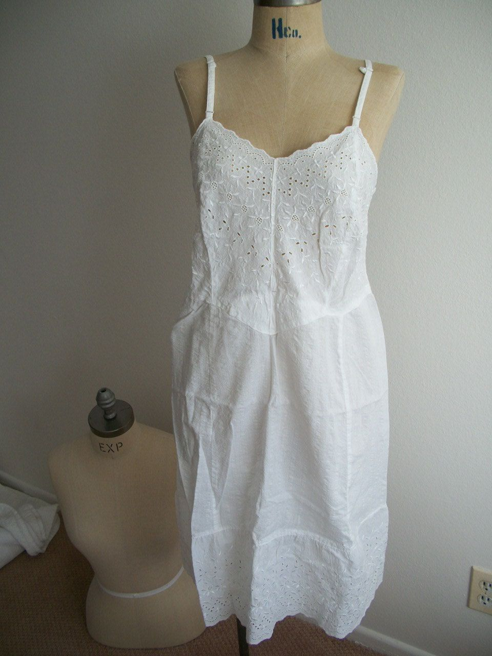 Pretty Little Vintage Cotton White Slip Dress 16 00 Via Etsy White Slip Dress White Slip Cotton Slip
