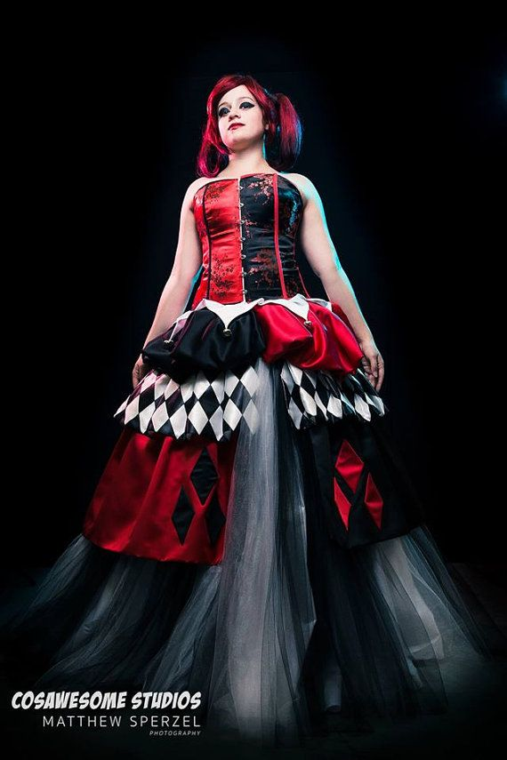 one of a kind harley quinn wedding dress by
