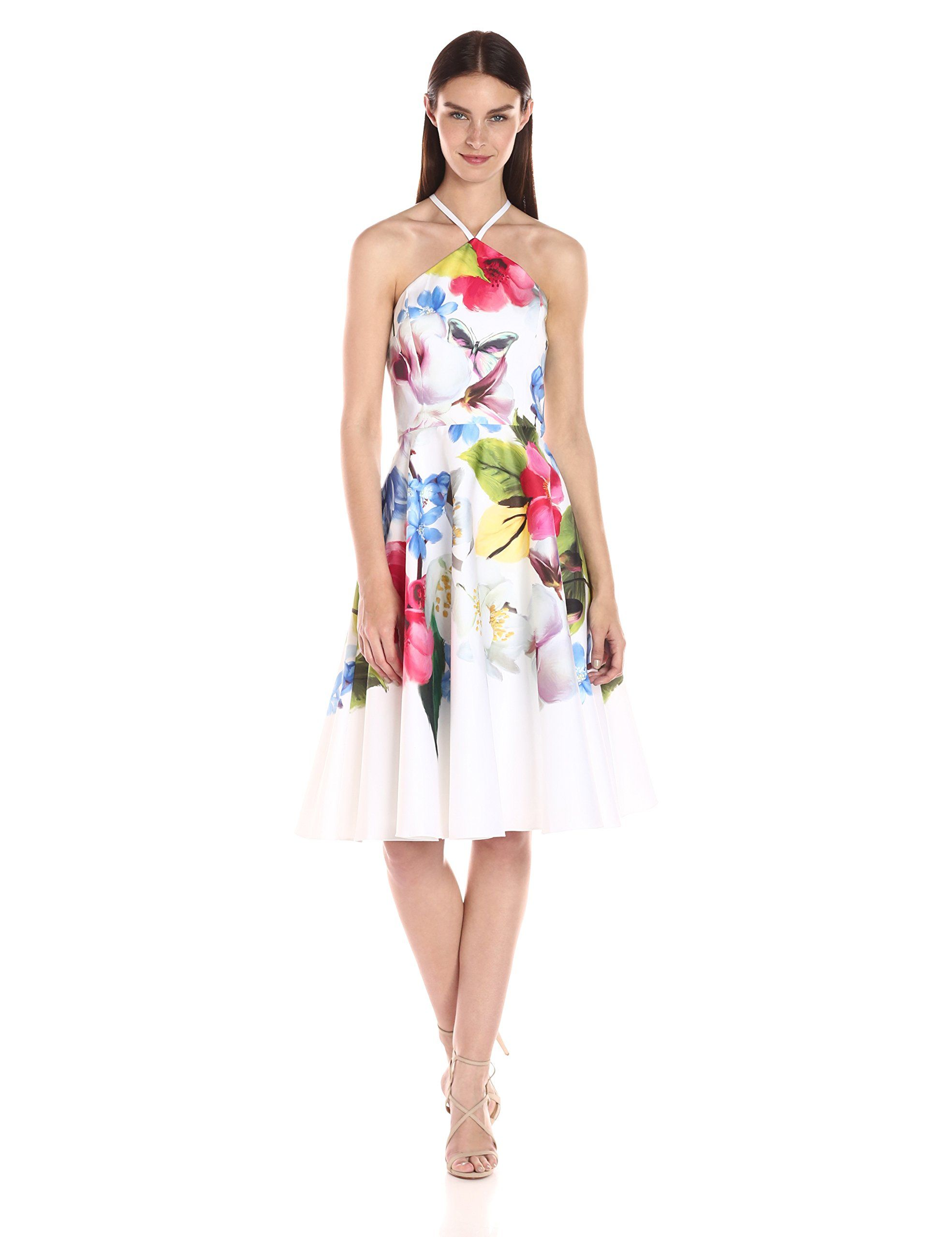 Ted Baker Women\'s Corpina Forget Me Not Floral Halter Neck Dress ...