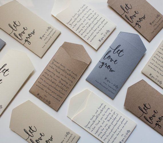 50 x Let love grow personalised seed packet envelope favours wedding