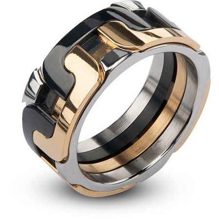 Steel Art Mens Stainless Steel IP Gold and Black Interlock Polished