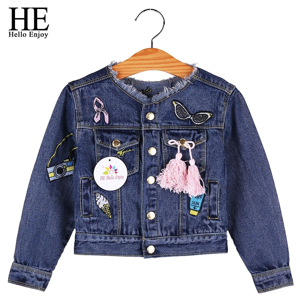 f7d0d6959 HE Hello Enjoy Baby Girls Jackets Coats Cartoon Graffiti Embroidery ...