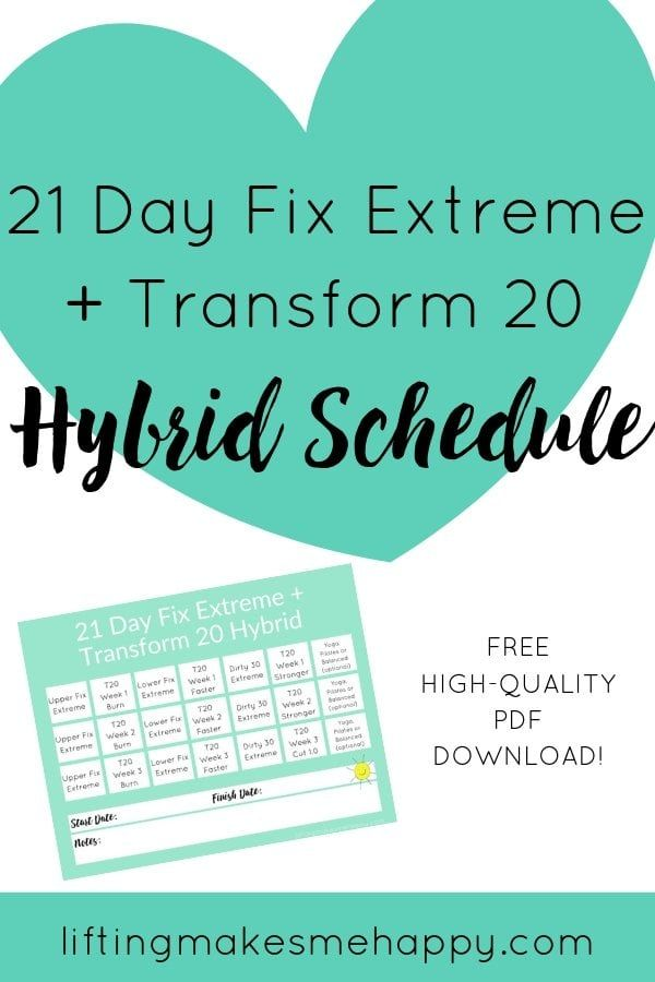 21 Day Fix Extreme Transform 20 Hybrid Workout Schedule is part of 21 day fix workouts, 21 day fix extreme, Workout schedule, Extreme workouts, Beachbody workouts, Workout calendar - The easiest way to prevent boredom with home workouts is to create a workout hybrid  I just started this 21 Day Fix Extreme Transform 20 hybrid workout
