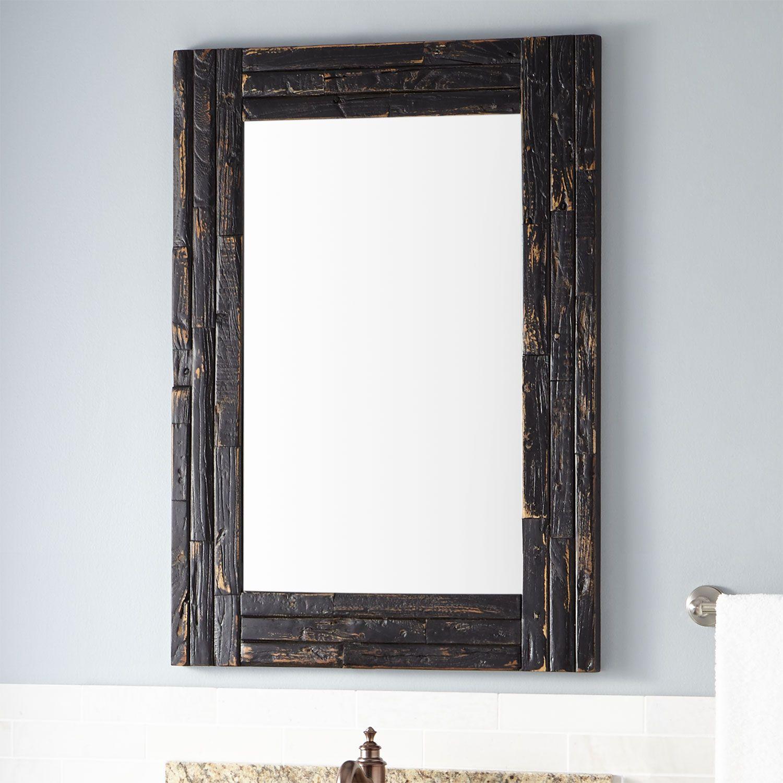 Benoist Reclaimed Wood Vanity Mirror - Antique Black