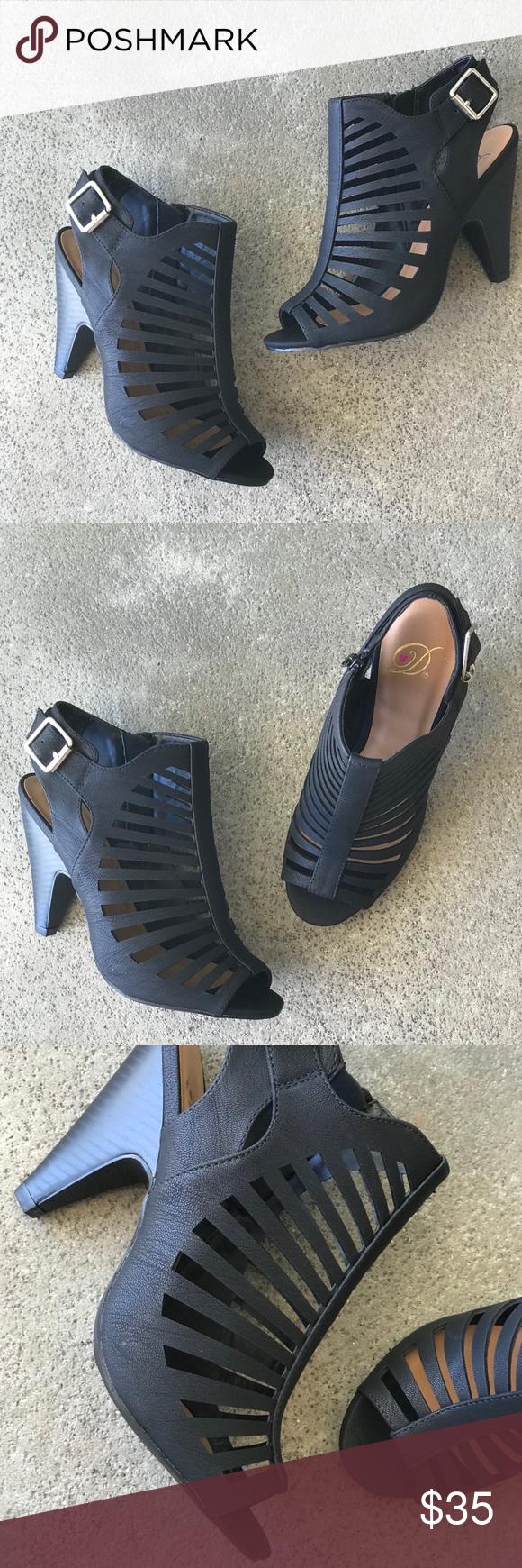 9b5cdcd8367 Delicious strappy Black ebony peep toe cage heel Delicious strappy Black  ebony peep toe cage heel