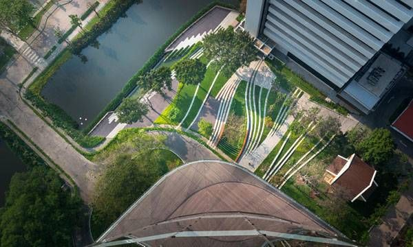 Contemporary Landscape Architecture a bird's eye view of newly designed scg landscape through the