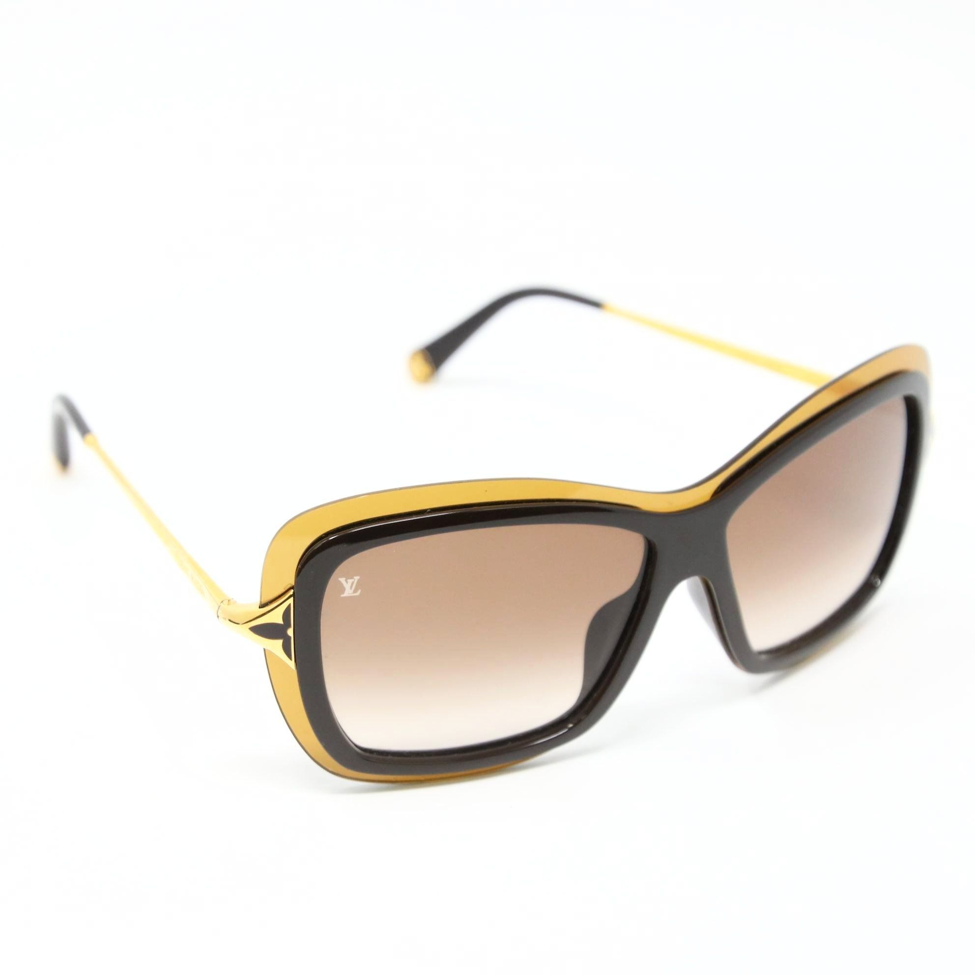 dfbc1e20d3fc Louis Vuitton Quatrefoil Accent Poppy Gold-tone Acetate Sunglasses ...