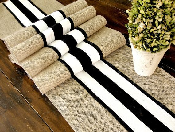 Burlap Table Runner Wedding Table Runner With Black And White French Stripes,  Rustic Chic Table