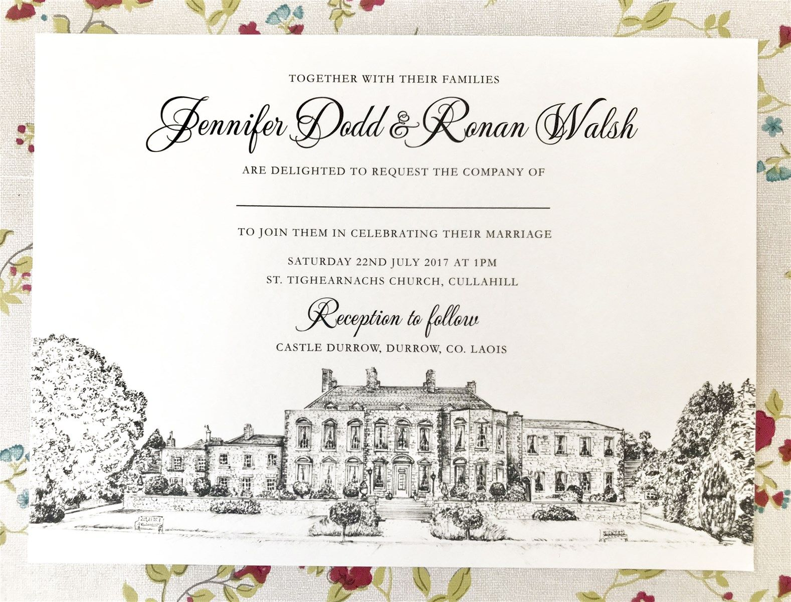 wedding invitation, venue illustration, irish wedding venue, castle ...