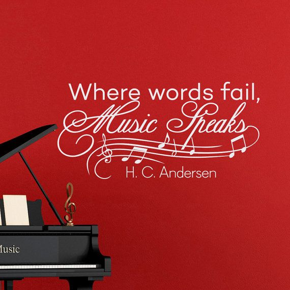 Music Notes Wall Decals Quotes Vinyl Lettering Where Words Fail Music Speaks Hans Christian Andersen Wall Decal Quote Art Home Decor  Approximate
