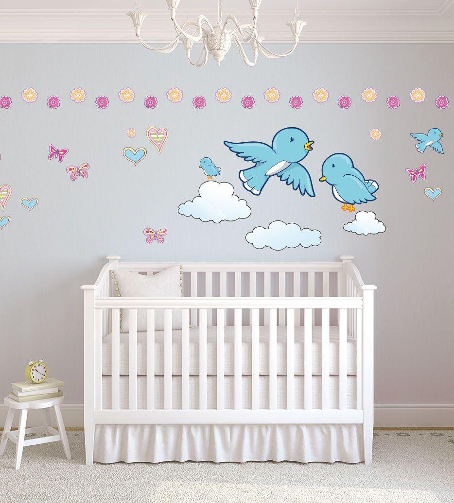 zuckersüße Spatzenfamilie mit #Herzchen und #Schmetterlingen  Ideal für die kahlen Wände deiner kleinen Prinzessin oder deines kleinen Prinzen  #kinderzimmer #wanddeko #deko #junge