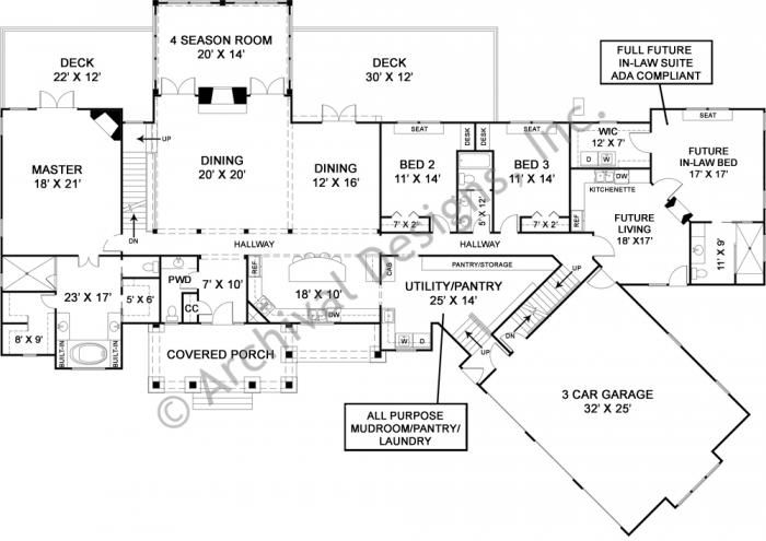 luxury ranch house plan with accessible in law suite first floor