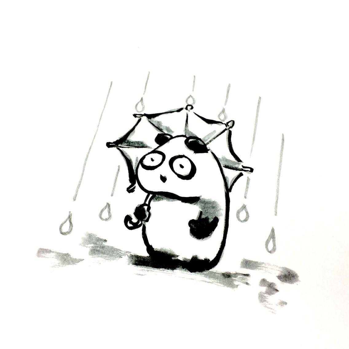 【一日一大熊猫】2015.11.18 よく雨が降るね。 #パンダ #雨 #11月の雨