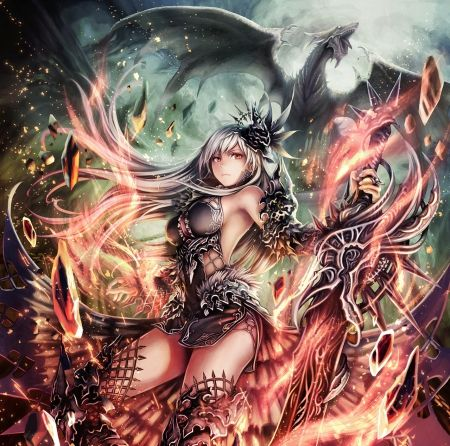 Dragon Slayer - hd, anime, flame, warrior, dragon, fire ...