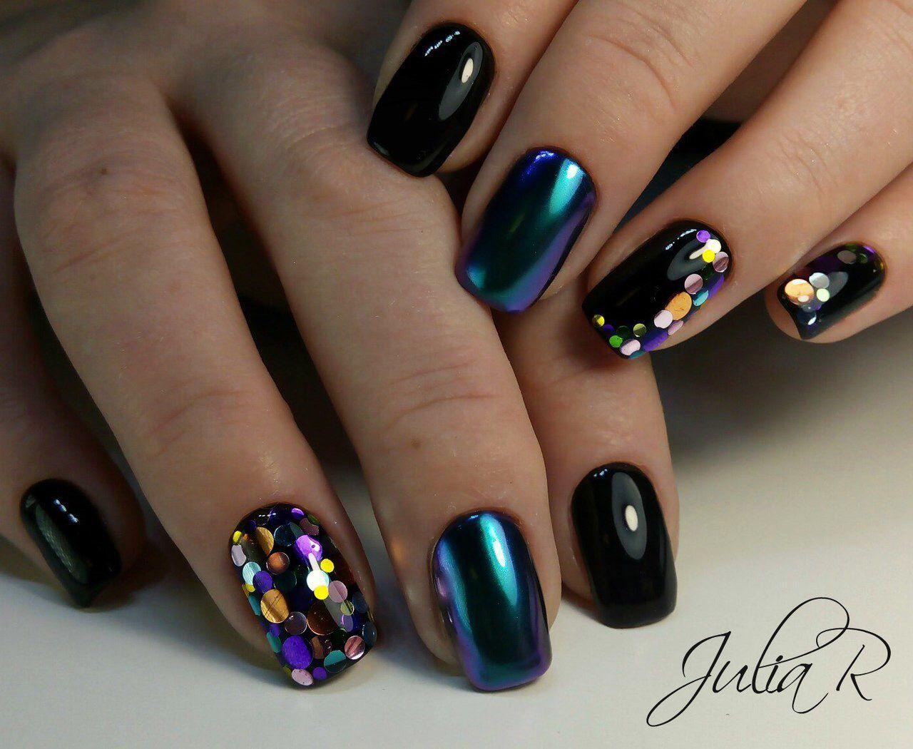 Pelikh Nailz Manicura De Uñas Uñas Negras Decoradas Y