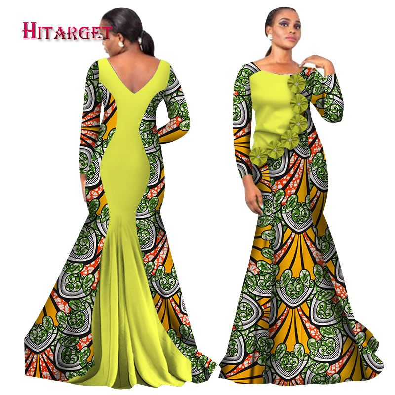 f7c43bd00f130 Hitarget 2018 Bazin Riche African Dresses for Woman Print Splice O Neck  Mermaid Backless Dresses Dashiki African Clothes WY2105