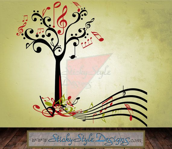 Music Tree Wall Decal Abstract Free Shipping Colorful Large - Custom vinyl transfer decals