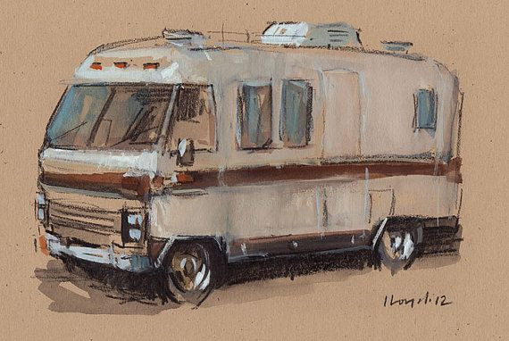 Art Print Car Painting Airstream Camper Retro Travel Americana Geekery