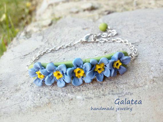 Forget Me Not Gift Blue Blossoms Bracelet Bar Bachelorette Jewelry Friendship Botanical Charm Nature