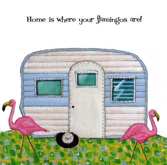 Home is where your flamingos are greeting card by glenillustrates2, $3.50