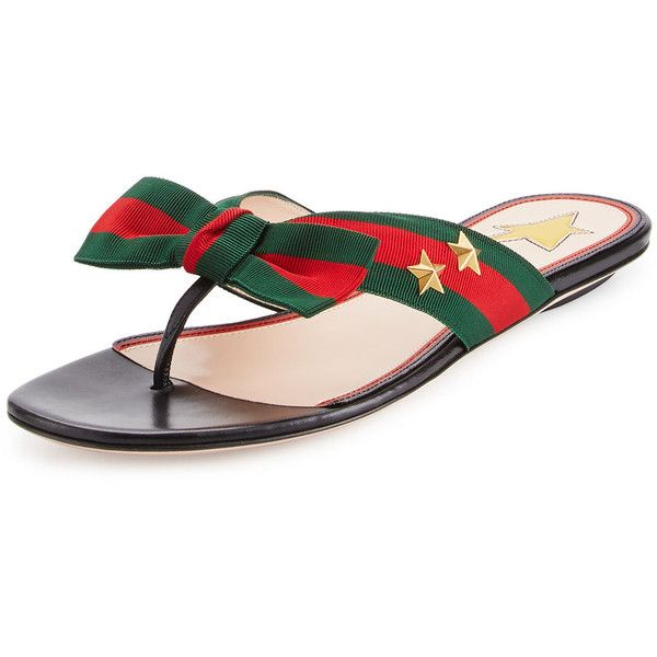 Gucci Studded Grosgrain Web Flat Thong Sandal (31.630 RUB) ❤ liked on Polyvore featuring shoes, sandals, black, black thong sandals, black sandals, studded sandals, gucci sandals and thong sandals