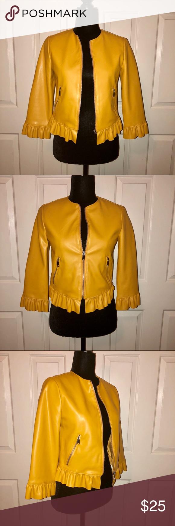 ZARA 3 faux yellow leather jacket. Small Zara basic