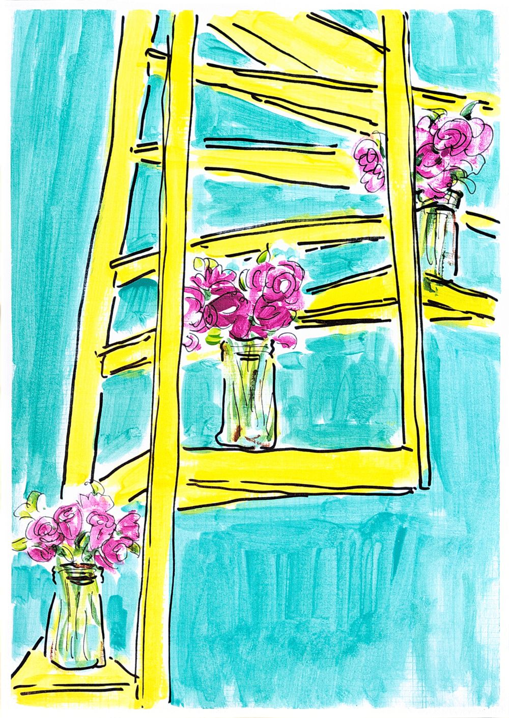 Modern painting Yellow staircase. Turquoise wall art. Pink flowers ...