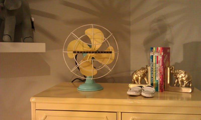 Vintage fan we refinished for Jude's room.