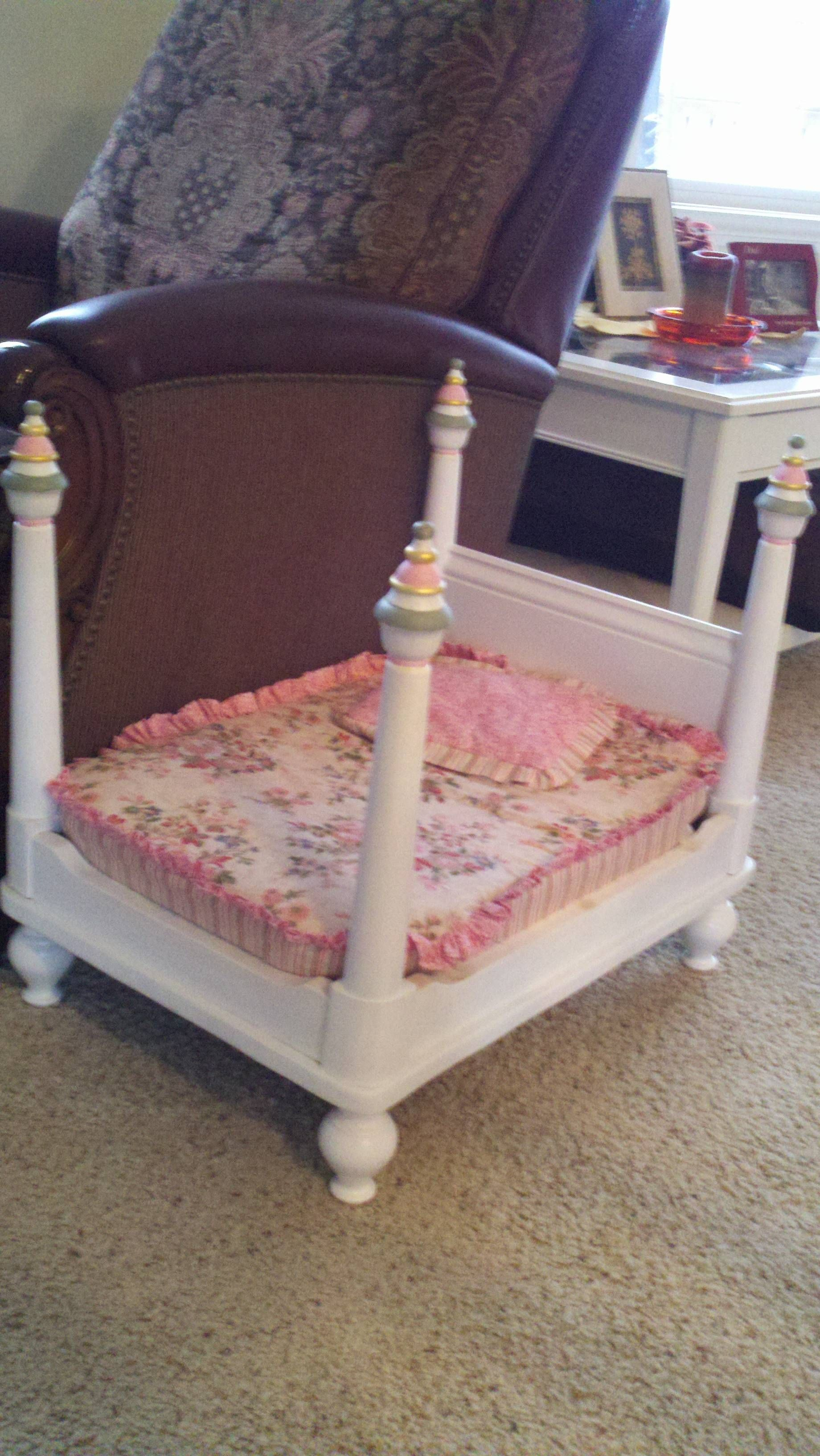 Dog bed made from an old end table. Uploaded with