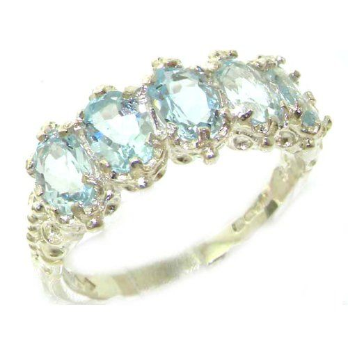 Solid Sterling Silver Natural Aquamarine Ladies Eternity Band Ring ildgSY