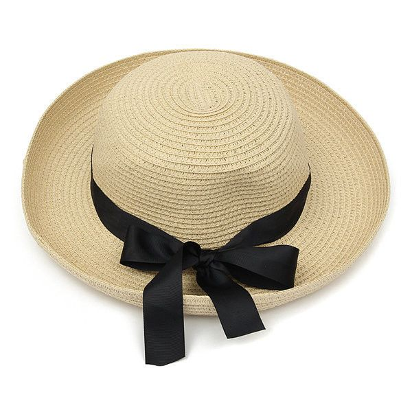 0587970a3ec Women Ladies Summer Sun Beach Floppy Derby Hat Wide Large Brim Straw...  ( 8.19) ❤ liked on Polyvore featuring accessories