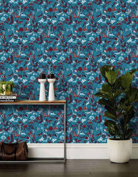 Foret Teal Bathroom WallpaperModern WallpaperWallpaper IdeasTeal BackgroundStaircase IdeasGuest