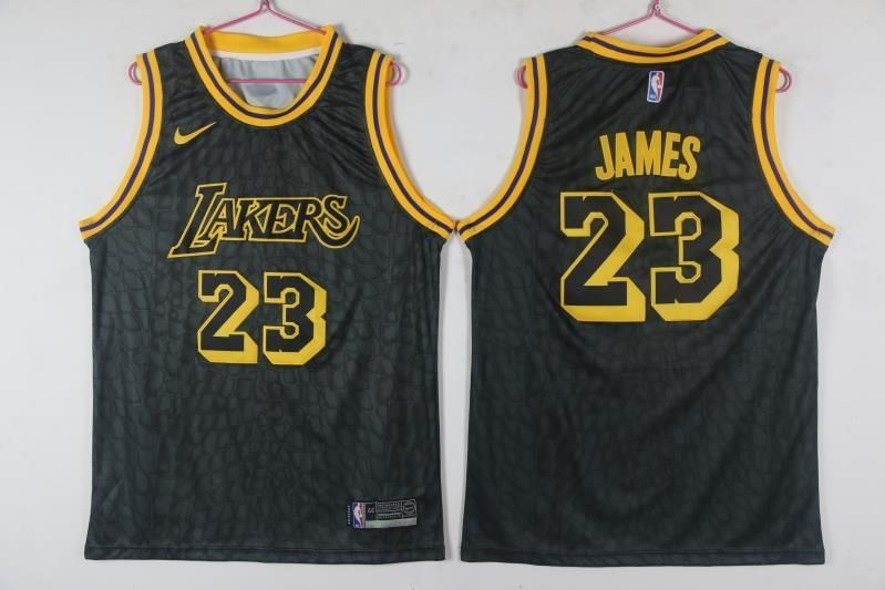 3b5629e1113 Lakers 23 Lebron James Black City Edition Nike Swingman Jersey